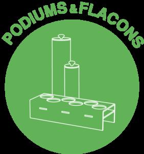 podiums et flacons pour présentation produits vrac (spaghettis)